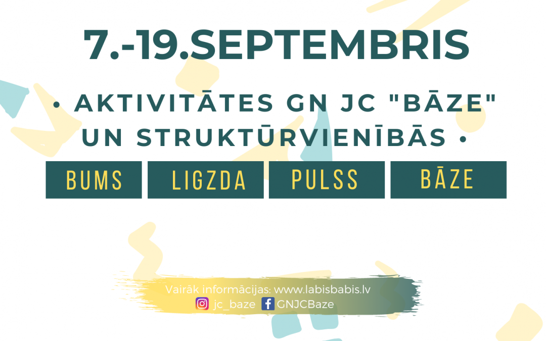 """Aktivitātes no 7.-19.septembrim GNJC """"Bāze"""" un struktūrvienībās"""
