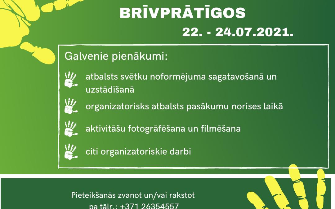 Brīvprātīgā darba iespējas jūlijā